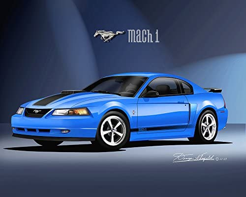 Amazon Com 2003 2004 Mustang Mach 1 Azure Blue Art Print Poster By Artist Danny Whitfield Size 20 X 24 Posters Prints