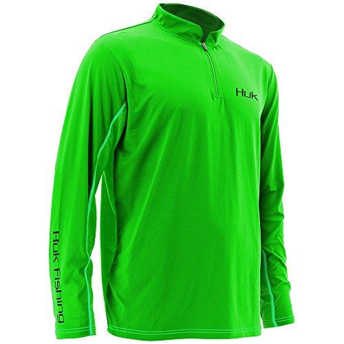 Huk H1200065NGNL Icon 1/4 Zip Jacket, Neon Green, Large