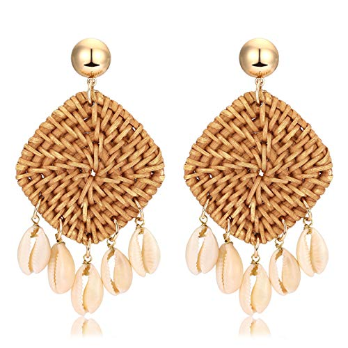 - Rattan Shell Earrings Handmade Straw Wicker Braid Woven Drop Earrings Boho Cowrie Shell Chandelier Statement Dangle Stud Earrings for Women Girls (Brown)