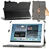 MoKo Genuine Leather Slim-Fit Folio Cover Case For Samsung Galaxy Tab 2 10.1, Black (with Built-in Multi-Angle Stand)