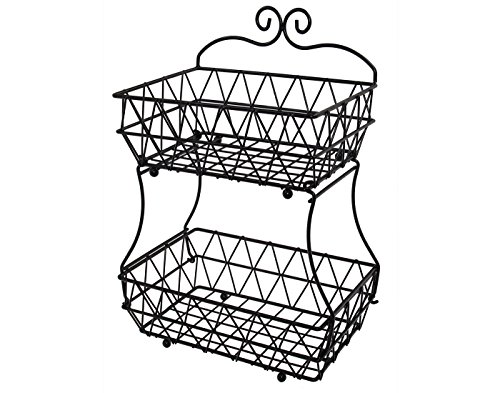 Upgraded Version - ESYLIFE 2 Tier Fruit Bread Basket Display Stand - Screws Free Design