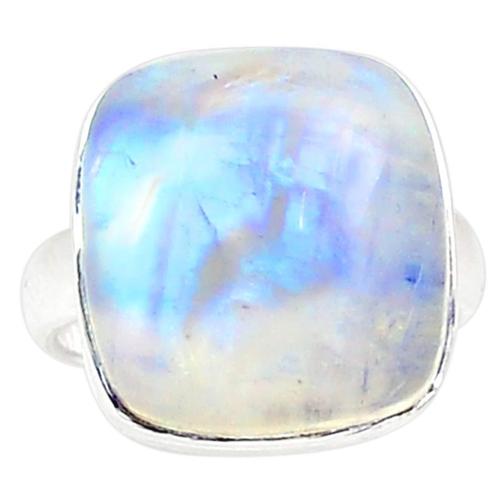 NiaoZaiFei YunZaiKan Genuine Blue Fire Moonstone Ring 925 Sterling Silver,USA Size 6.5 MHBAR3972