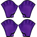 Hsei 2 Pairs Webbed Swimming Gloves Aquatic Fitness Gloves Water Resistance Swim Diving Gloves for Swimming Training Exercise, Average Size (Purple)