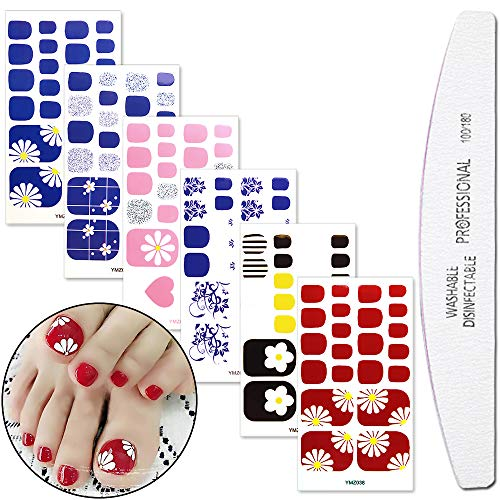 WOKOTO 6 Sheets Adhesive Toenail Art Decals Tips With 1Pc Nail File Flower Manicure Design Nail Polish Wraps Stickers Strips Set
