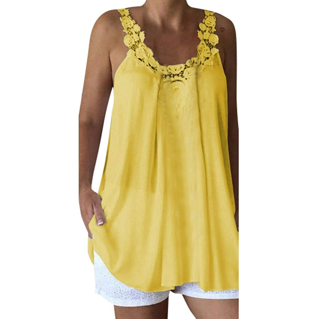 Women Sleeveless Tank Tops Casual Lace Splice Comfy Loose Solid Top Vest Blouse (S, Yellow)