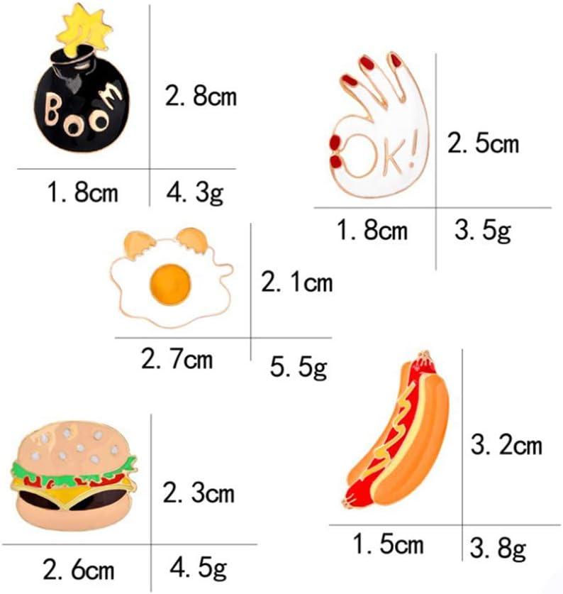 MAlex Brooch 5 Pieces Set for Men Women Couple Fashion Simple Brooch Hamburger hot Dog Bag Accessories Brooch
