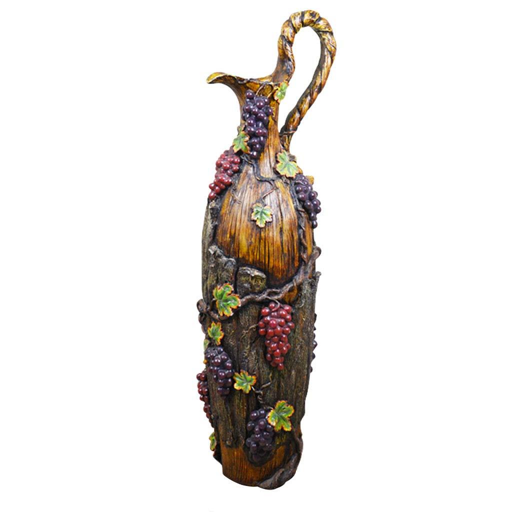 花瓶コンテナヨーロッパのファッション装飾品リビングルーム特別アンティーククリエイティブパッケージアメリカンシミュレーション挿入ドライフラワー装飾ランディンググレープ樹脂大 (Color : BROWN, Size : 23*73CM) B07S1KCBT6 BROWN 23*73CM
