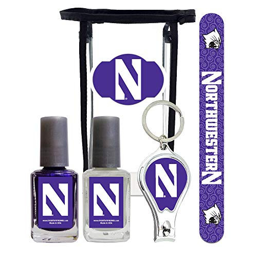 Northwestern Wildcats Manicure Pedicure Set with 7-Inch Nail File, Nail Clippers, 2 Nail Polishes in Team Colors, and Toiletry Bag for the Whole Kit. NCAA Gifts and Gear for Women