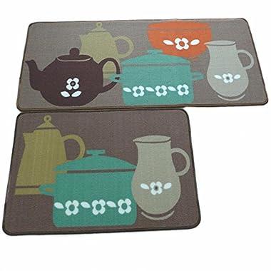 Ustide 2-piece Designer Teapot Print Area Rug,Unique Room Floor Mats,Modern Kitchen Rugs