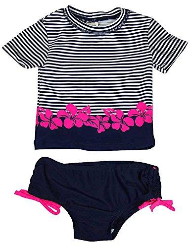 Flower Discounted Girl - Osh Kosh B'gosh - Baby Girls 2 Piece UPF 50+ Striped with Flowers Rashguard Swim Set, Navy, White 37819-24Months