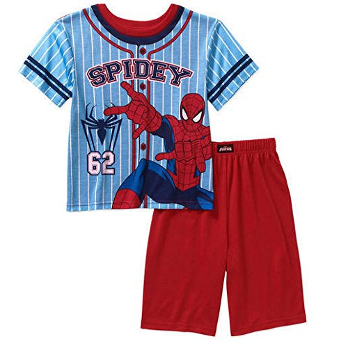 Marvel Spiderman Boys' Spidey Short Sleeve Sleep Shirt and Short 2 Pc Pajama Set (Small (6/7))