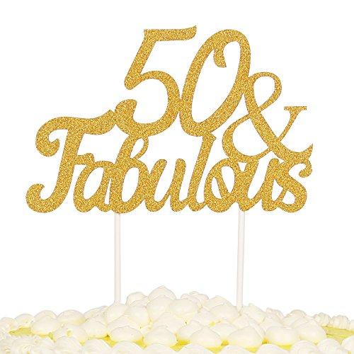 PALASASA Gold Glitter 50 & Fabulous Cake Topper, Wedding, Birthday, Anniversary, Party Cupcake Topper Decoration - Fabulous Desserts