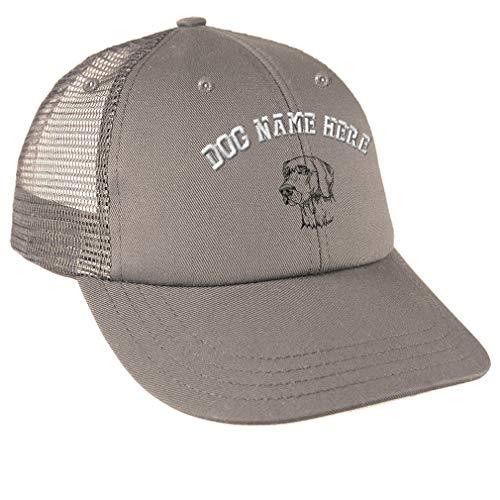 Weimaraner Baseball Hat - Snapback Baseball Cap Weimaraner C Embroidery Dog Name Cotton Mesh Hat Snaps - Grey, Personalized Text Here