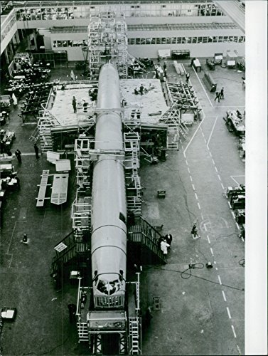 Jet Concorde (Vintage photo of Supersonic passenger jet Concorde is developing in a factory)