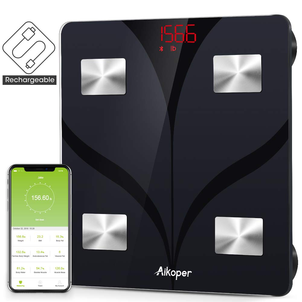 Bluetooth Body Fat Scale by Aikoper, USB Rechargeable Smart Digital Bathroom Weight Scale, with 13 Data iOS Android App, Body Composition Analyzer for BMI, Body Fat , Muscle Mass, Water, 396lbs