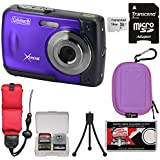 Coleman Xtreme C20WP Shock & Waterproof HD Digital Camera (Purple) 16GB Card + Case + Floating Strap + Tripod + Kit