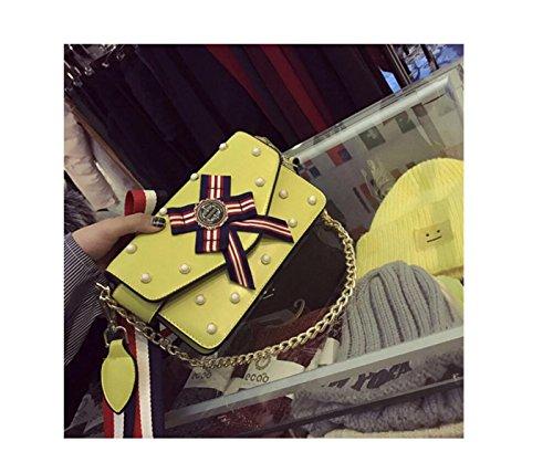 Bolso De Hombro De Cuero GSHGA Para Mujer Bolso Pequeño Bolso Cuadrado De Perlas Con Remaches Bolso De Hombro,Yellow Yellow