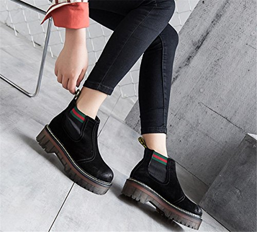 NVXIE Women's Short Boots New Leisure Round head Low Rough Heel Genuine Leather Scrub Thick Bottom Martin Boots Black Gray Brown Spring Fall Winter Party Work EUR39UK665 cJrxfr9i