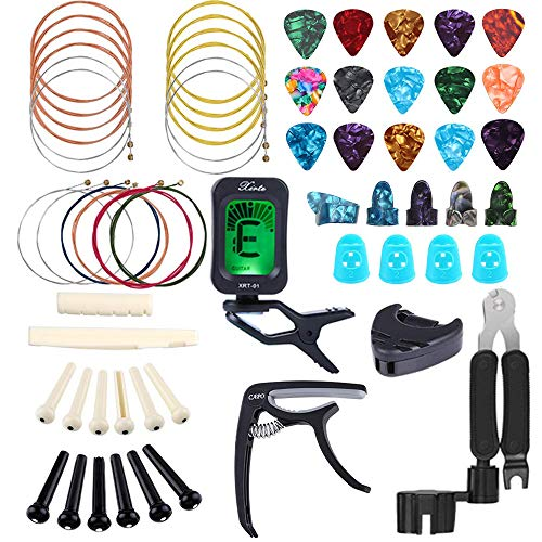 Bosunny 60 PCS Guitar Accessories Kit Including Guitar Picks,Capo,Tuner,Acoustic Guitar Strings,3 in 1String Winder,Bridge Pins,6 String Bone Bridge Saddle and Nut,Finger Picks