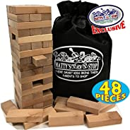 Matty's Toy Stop Wooden Tower Deluxe Stacking Game with Exclusive Storage