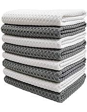 Polyte Ultra Premium Microfibre Kitchen Dish Tea Towel Waffle Weave, 8 Pack (40 x 71 cm, Gray, White)