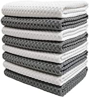 Polyte Ultra Premium Microfiber Kitchen Dish Hand Towel Waffle Weave, 8 Pack (16x28 in, Grey, White)