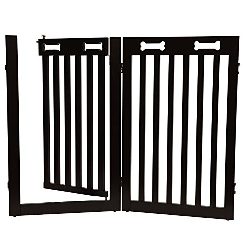 Arf Pets Extension gate Kit, Set of 2 panels With Door - Extension for the Free Standing Wood Dog Gate