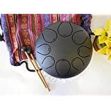 """WuYou 8"""" Steel Tongue Drum Handpan Tank Special Notes, FREE Bag & Mallets, Black"""