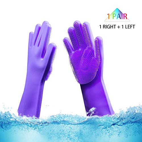 Silicone Gloves with Wash Scrubber 1pair,Magic Saksak Silicone Cleaning Brush Scrubber Gloves Reusable Brush Heat Resistant Gloves Kitchen Tool for Cleaning, Dish Washing, Pet Hair Care(Dark Purple)