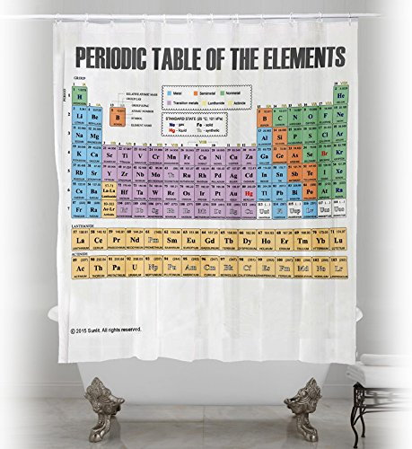 Updated Periodic Table Of Elements Shower Curtain. PVC Free, Odorless  Non Toxic Fabric.