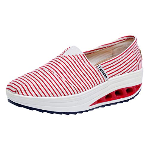 Dainzuy Women's Platform Wedges Walking Sneakers Comfortable High Heel Casual Sports Thick Bottom Canvas Shoes Red