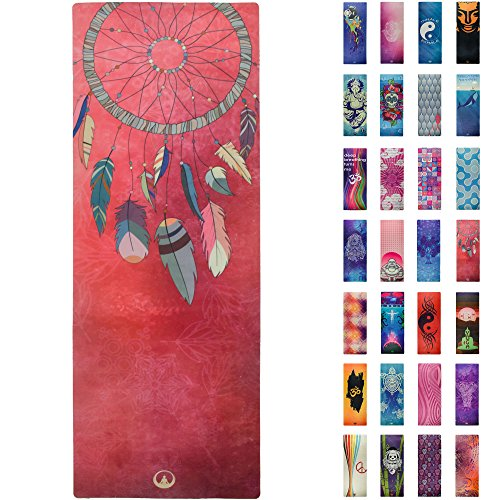 Soul Obsession Printed Yoga Mat, Prana Yoga Mat, Bikram Yoga Mat - Incredibly Comfortable Yoga Mats for Men and Women - Gorgeous Microfiber Printed Designs - Dream Catcher Feathers - Soul Catcher