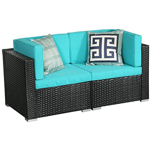 LUCKWIND Patio Conversation Sectional Sofa Chair Table – LOVESEAT All-Weather Black Checkered Wicker Rattan Seating Cushion Patio Ottoman Modern Glass Coffee Table Outdoor Accend Pillow (Green)