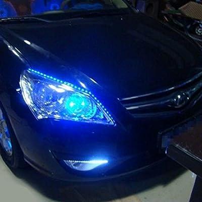 Partsam 2x H3 Xenon Blue LED 5730 SMD Driving Fog Light Extremenly Bright Car Fog Light Daytime Running Led Bubs for Volkswagen Jeep Infiniti Nissan
