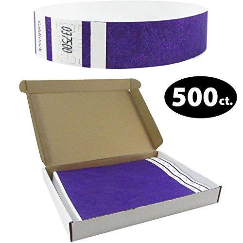 (Goldistock Select Series with Box - Tyvek Wristbands Deep Neon Purple 500 Count - 3/4