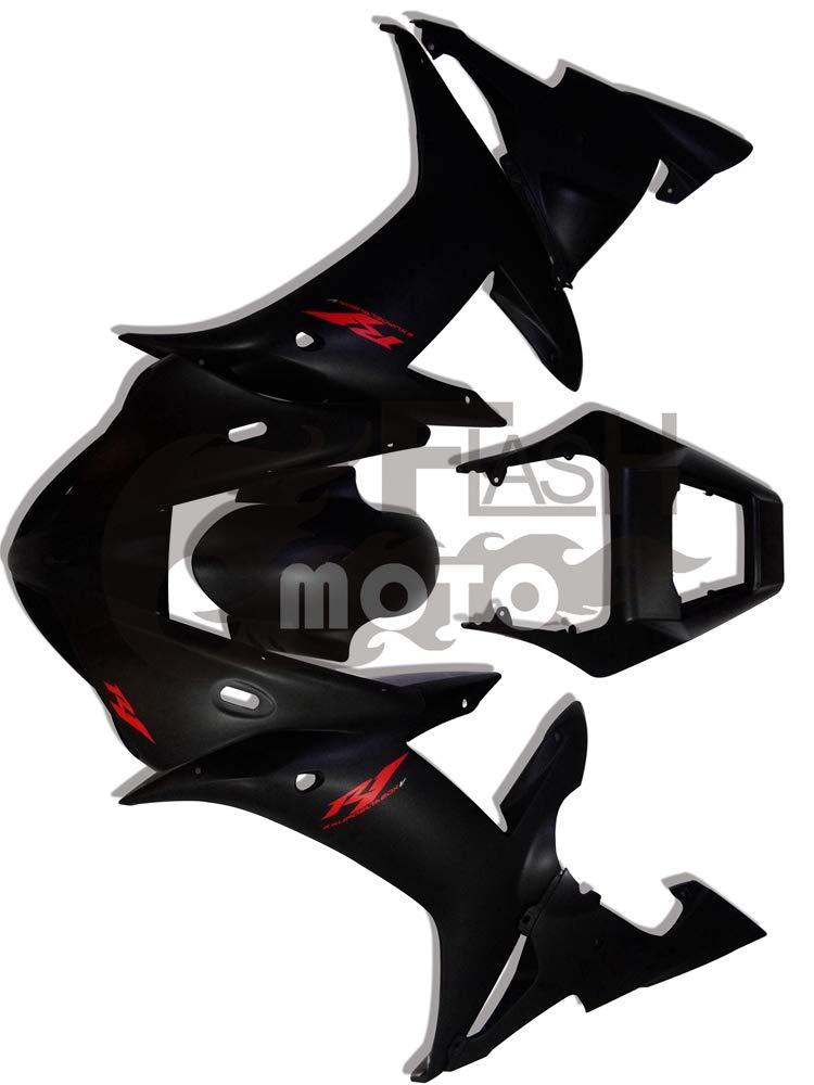 FlashMoto yamaha ヤマハ YZF-1000 R1 2002 2003用フェアリング 塗装済 オートバイ用射出成型ABS樹脂ボディワークのフェアリングキットセット ブラック   B07LF265KK