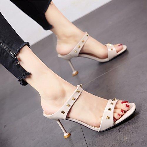 Remaches Zapatillas tacón Zapatos Moda Simple de de de Charol Sandalias El Personalidad YMFIE Verano de gray Damas Europeo Estilo wx6pzPqO