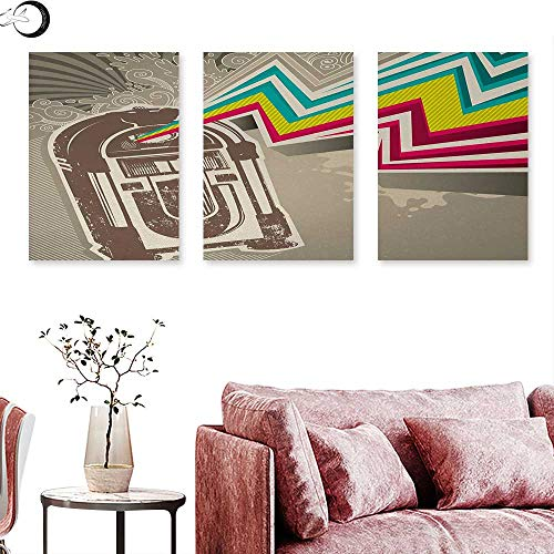 Jukebox Magazine (Jukebox Abstract Painting Antique Vintage Retro Radio Party with Colorful Zig Zag Design Image Triptych Art Set Light Grey and White W 12