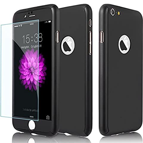 iPhone 6S Plus Case, AOKER Ultra-thin Full Body Coverage Hard Plastic Matte [Tempered Glass Screen Protector] 360 All Round Shockproof Hybrid Cover Skin for Apple iPhone 6/6S Plus 5.5 Inch (Apple Iphone 6 Case Otterbox Slim)