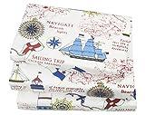 100 cotton twin sheets - J-pinno Cute Cartoon Sailboat Ocean Sea Adventure Printed Twin Sheet Set for Kids Boy Children,100% Cotton, Flat Sheet + Fitted Sheet + Pillowcase Bedding Set