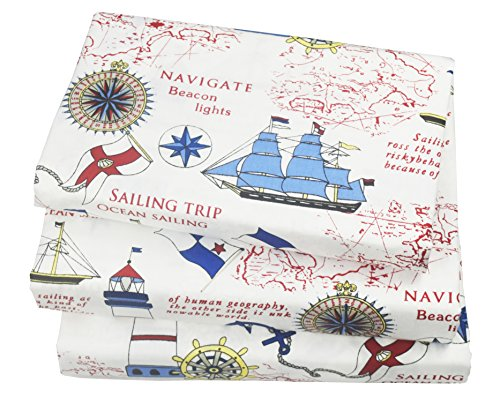 (J-pinno Cute Cartoon Sailboat Ocean Sea Adventure Printed Twin Sheet Set for Kids Boy Children,100% Cotton, Flat Sheet + Fitted Sheet + Pillowcase Bedding Set)
