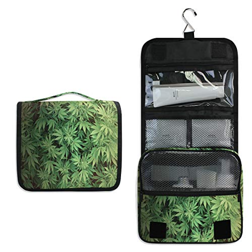 SLHFPX Hanging Toiletry Bag Cannabis Leaf Waterproof Wash Bag Makeup Organizer for Bathroom Men Women (Maui Braun)