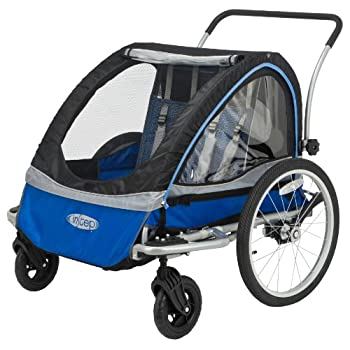 Image of Child Carrier Trailers InStep Rocket Single Seat and Double Seat Foldable Tow Behind Bike Trailers, Converts to Stroller/Jogger, Featuring 2-in-1 Canopy and 20-Inch Wheels, for Kids and Children
