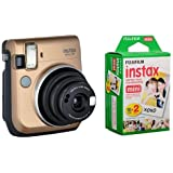 Fujifilm instax mini 70 Instant Film Camera, Stardust Gold - Bundle With Fujifilm Instax Mini Film Twin Pack
