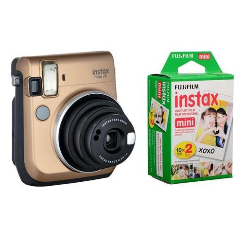 Fujifilm instax mini 70 Instant Film Camera, Stardust Gold - Bundle With Fujifilm Instax Mini Film Twin Pack
