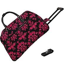 World Traveler 21 Inch Rolling Duffel Bag, Black Pink Damask, One Size