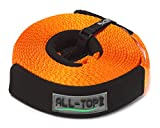 ALL-TOP Recovery Strap - 2-3/8'' x 30' Heavy Duty Towing Winch Snatch Strap with 24,500 lbs Capacity-Reinforced Loop End and Protective Sleeves-22% Elongation Protect Vehicles and Personal Security
