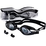 HugeSports Anti Fog UV Protection Swim Goggles with Replaceable Nose Piece and Case