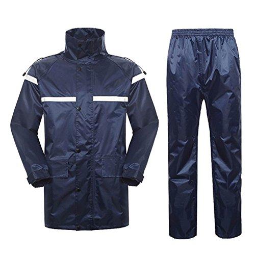 ZEMIN Regenjacke Poncho Windjacke Wasserdicht Regenponcho Regencape Jacke Abdeckung Unisex Verschleißfest Oxford-Tuch, 2 Farben, 2 Größen Verfügbar (Farbe   Blau, größe   XXL)