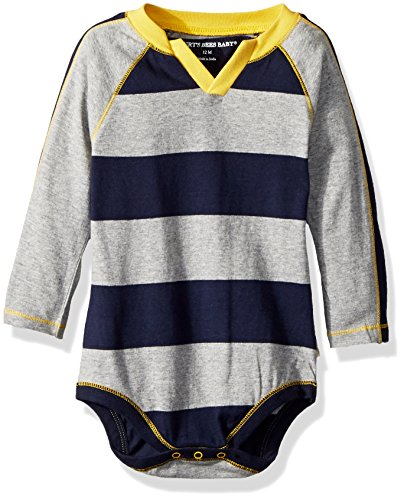 Burt's Bees Baby Boys, Long Sleeve One Piece Bodysuit, 100% Organic Cotton, Midnight Rugby Stripe, 3-6 Months